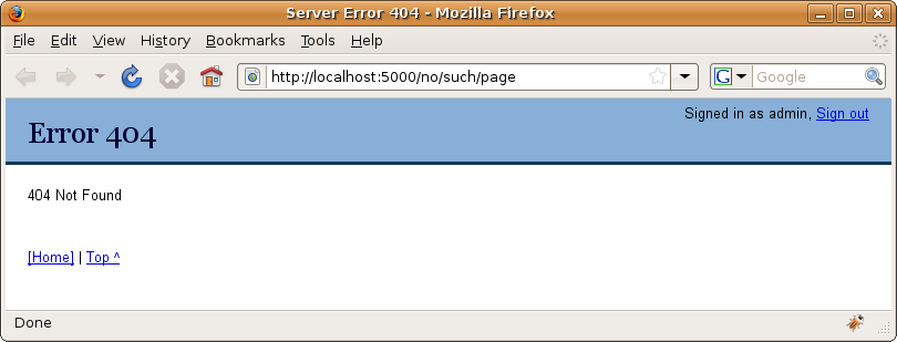 Figure 19-4. The updated error document support showing a 404 Not Found page