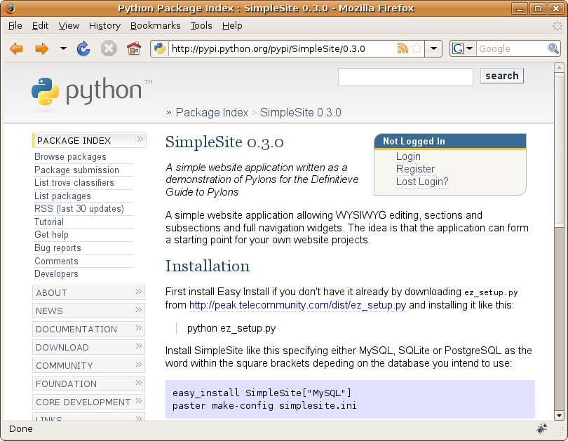 Figure 19-7. The SimpleSite project on the Python Package Index