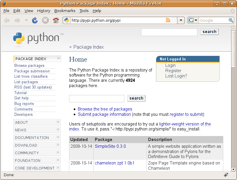 Figure 19-8. The SimpleSite project on the Python Package Index